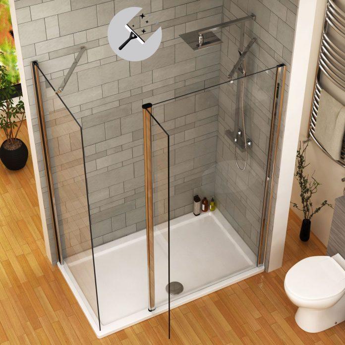 walk in shower screen with flipper panel